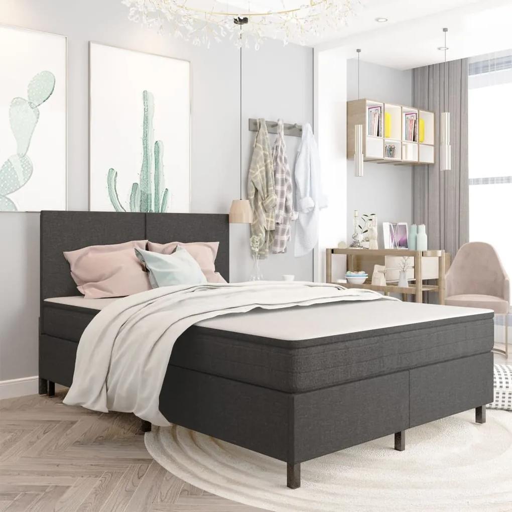287464 vidaXL Cadru de pat, gri, 140 x 200 cm, material textil