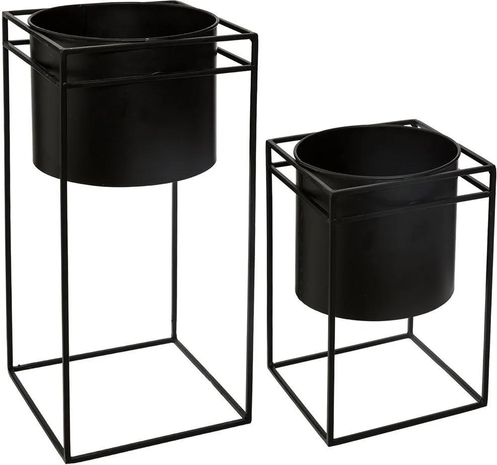 Set suport pentru flori modern din metal, 2 bucăți, negru