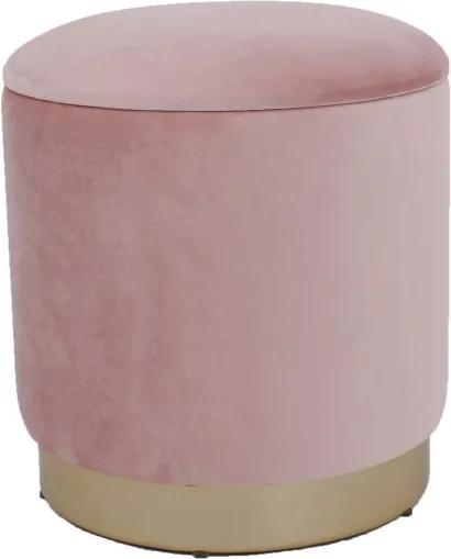 Taburet cu spatiu depozitare,baza metal,catifea, 37x40 cm, roz