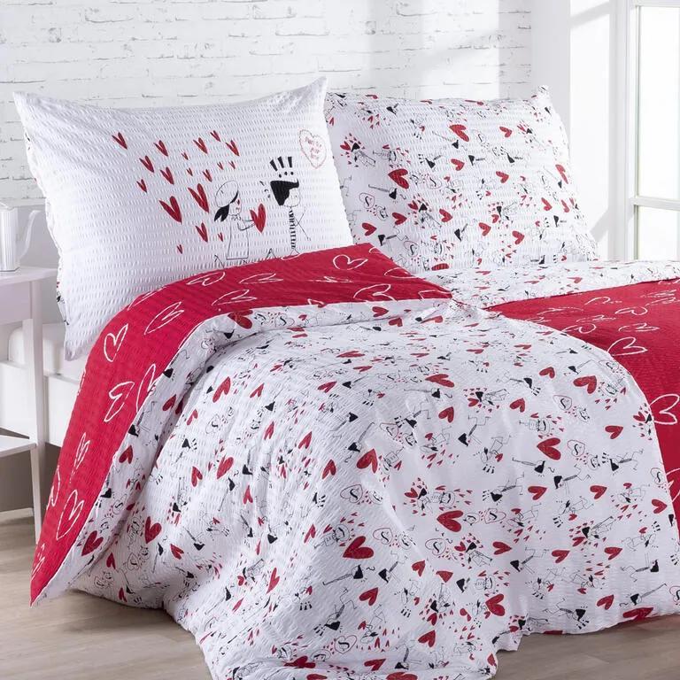 Lenjerie de pat creponată DRAGOSTEA lungime standard