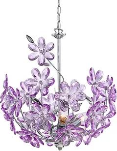 Pendul 3XE14 crom-cristal Purple Globo Lighting 5141