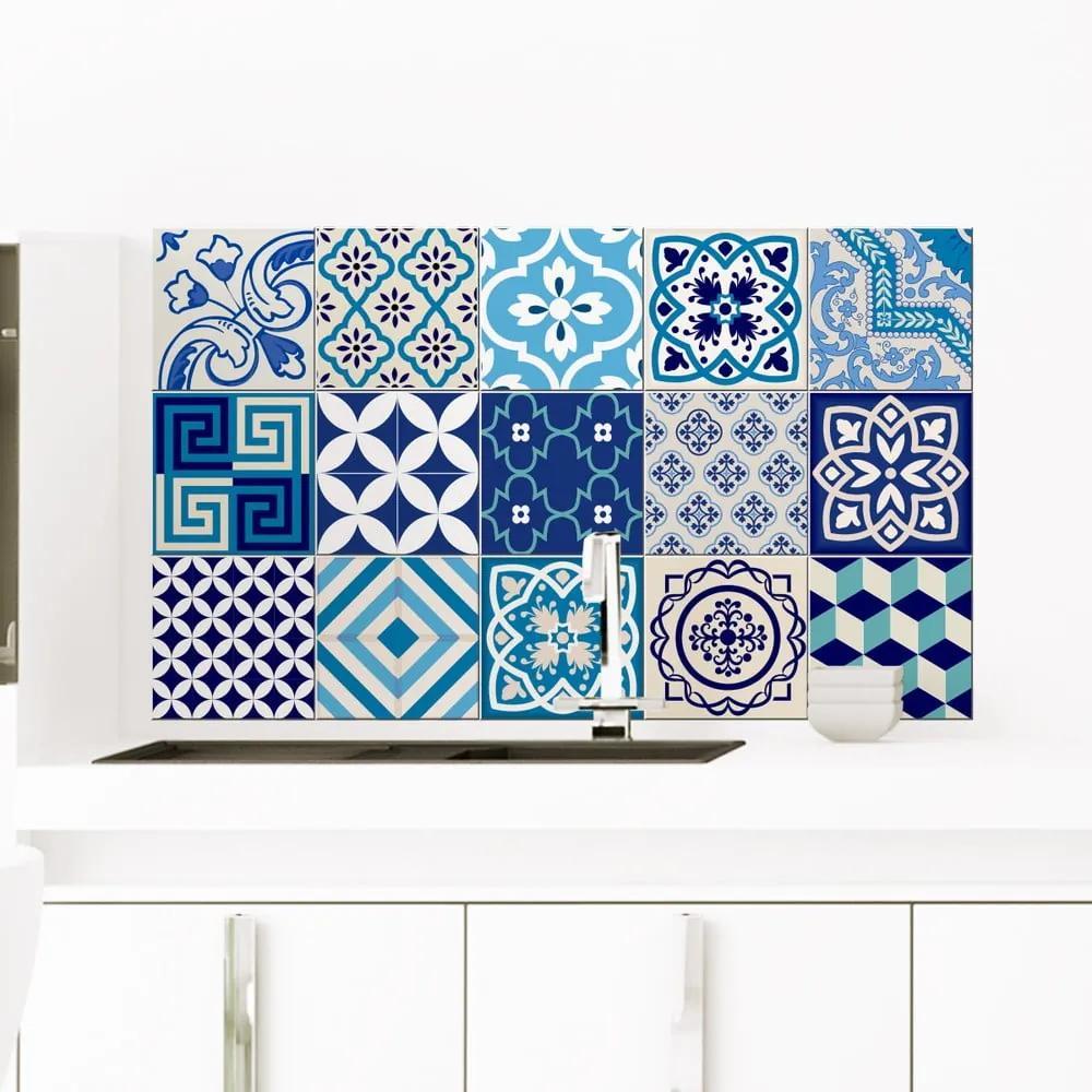 Set 15 autocolante de perete Ambiance Azur, 10 x 10 cm