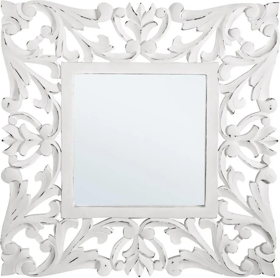Oglinda decorativa perete cu rama lemn alb vintage Dalila 42 cm x 3 cm x 132 h