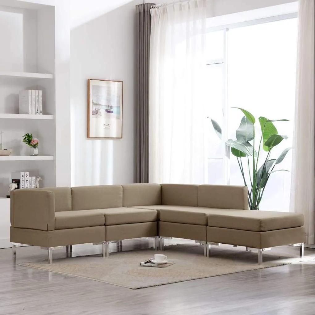 Set de canapele, 5 piese, maro, material textil