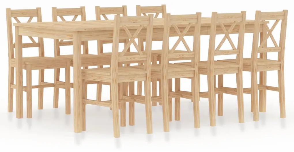 283385 vidaXL Set mobilier de bucătărie, 9 piese, lemn de pin