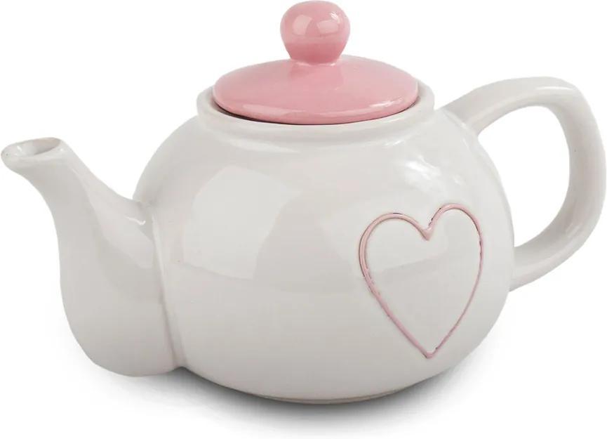 Ceainic ceramică Heart 1 l, roz