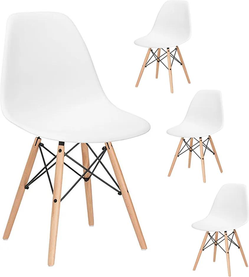 Set 4 Scaune moderne pentru living sau bucatarie Milano, 120kg, alb, 4 bucati