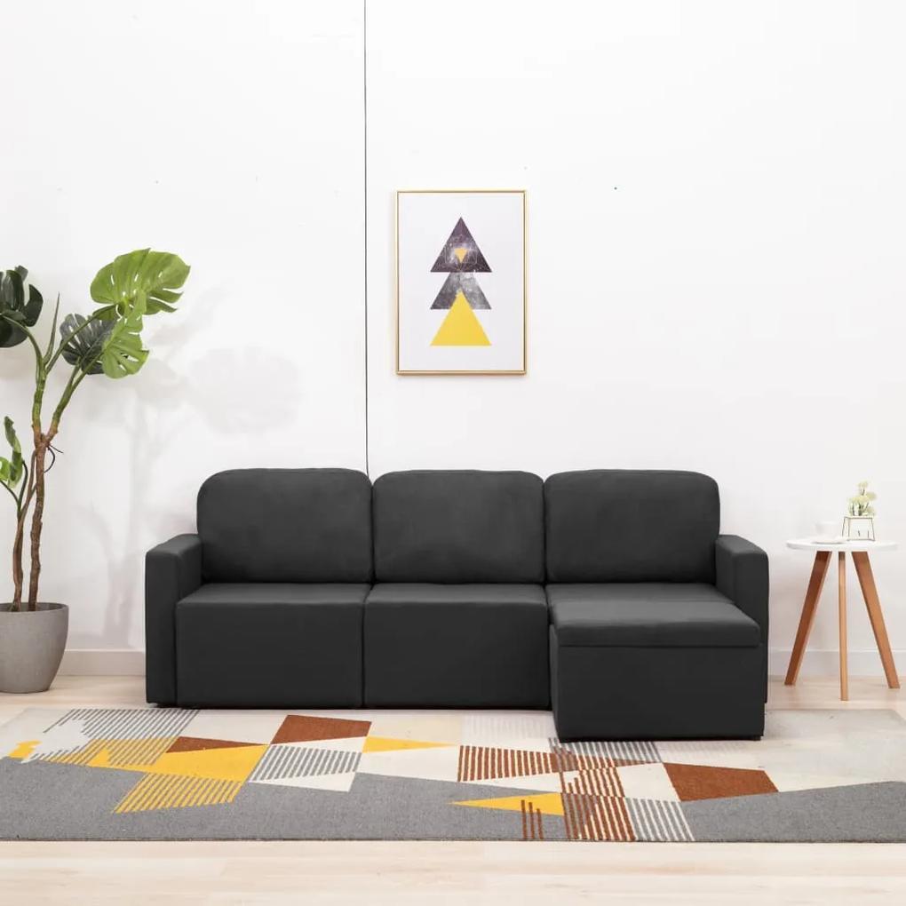 288784 vidaXL Canapea extensibilă modulară cu 3 locuri, gri închis, textil