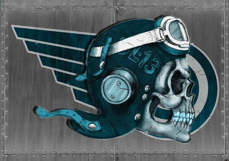 Skull Flying Tattoo Fototapet, (208 x 146 cm)