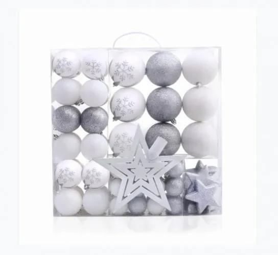 Set 76 globuri si stelute pentru brad din plastic Lux Alb / Argintiu, Ø10 / Ø20 / Ø4 cm