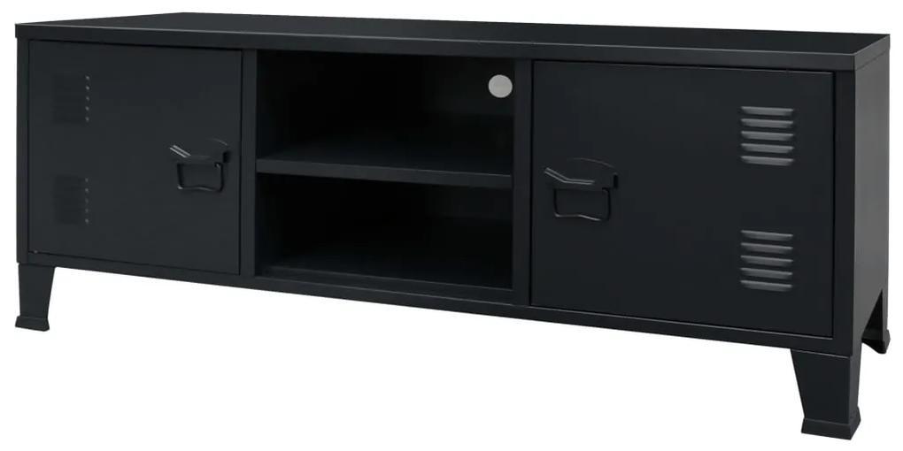 245964 vidaXL Comodă TV din metal, stil industrial, 120 x 35 x 48 cm, negru