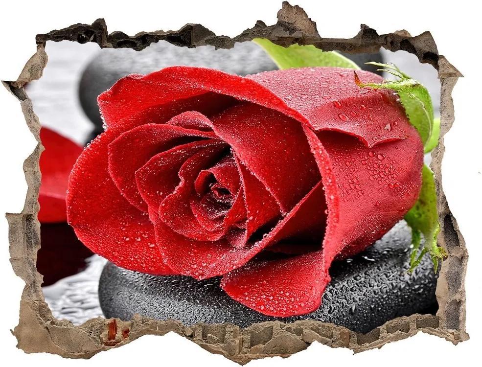 Autocolant de perete gaură 3D Trandafir roșu