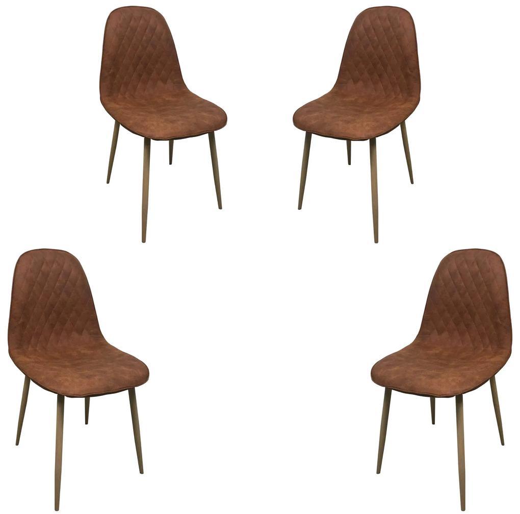 Set 4 scaune dining MF MINDY, stil scandinav, textil imitație piele, picioare metalice, aramiu
