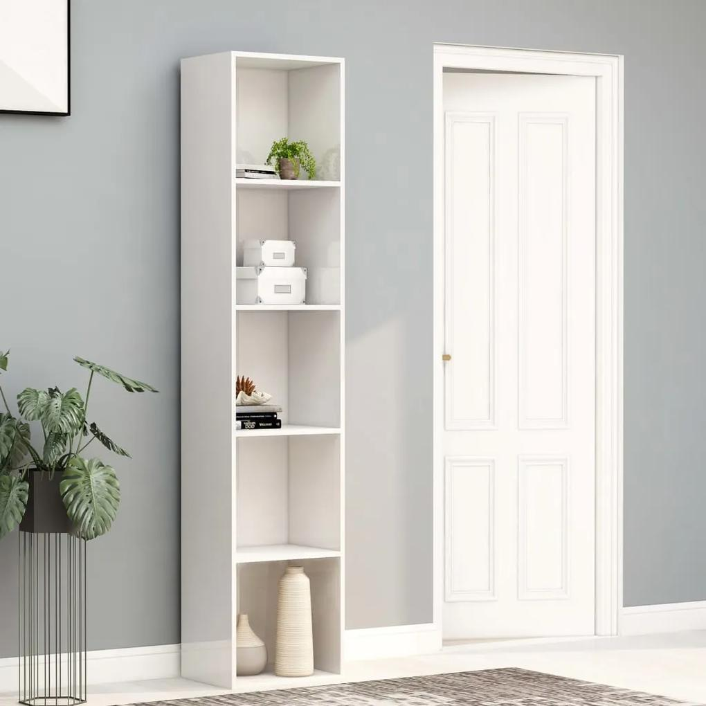 800960 vidaXL Bibliotecă, alb extralucios, 40 x 30 x 189 cm, PAL