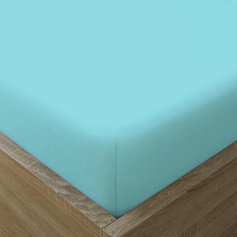 Goldea cearceafuri de pat din bumbac cu elastic - turcoaz 90 x 200 cm