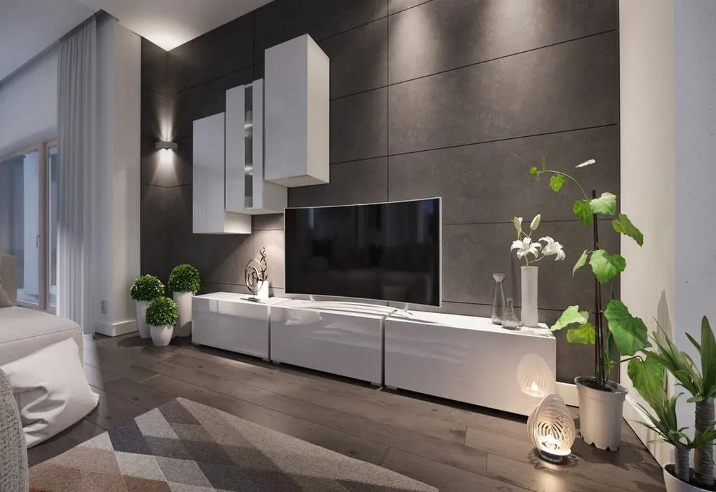 Expedo Mobilă sufragerie ELPASO 5 + LED + picioare, alb/alb luciu