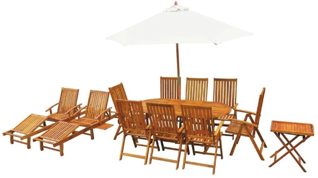 43550 vidaXL Set mobilier de exterior, 13 piese, lemn masiv de acacia