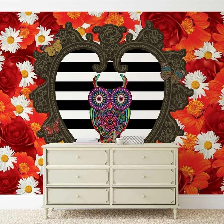 Floral Heart Owl Red Fototapet, (368 x 254 cm)