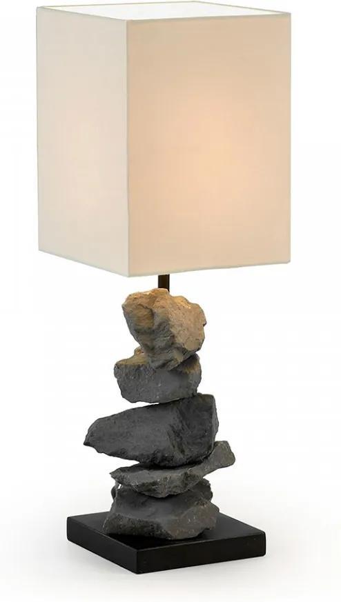 Veioza din lemn si piatra cu abajur bumbac Fulb La Forma