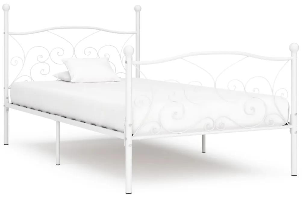 284448 vidaXL Cadru de pat cu bază din șipci, alb, 100 x 200 cm, metal