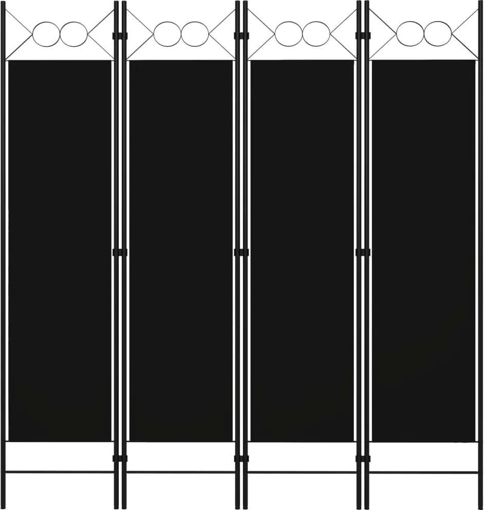 Paravan de camera cu 4 panouri, negru, 160 x 180 cm