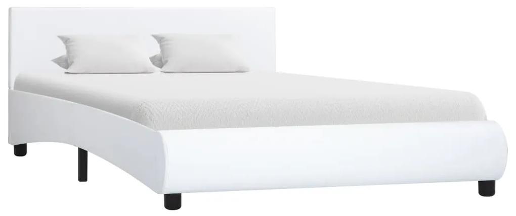 285458 vidaXL Cadru de pat, alb, 120 x 200 cm, piele ecologică