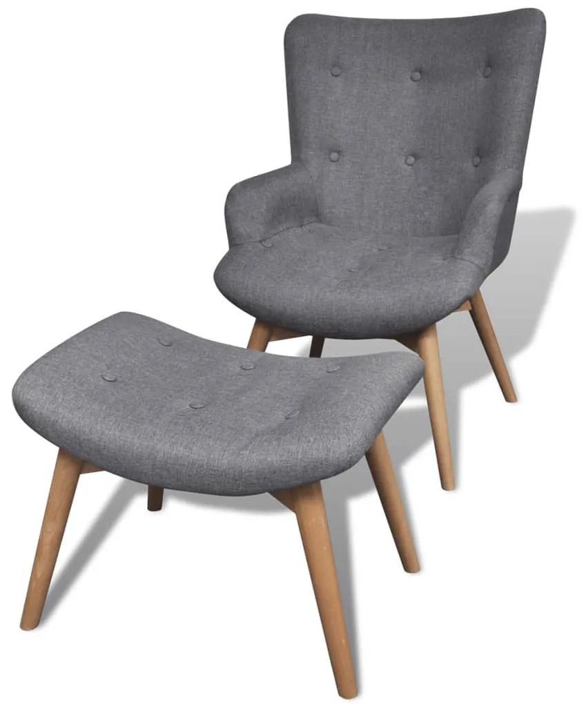 241673 vidaXL Fotoliu cu taburet pentru picioare, material textil, gri