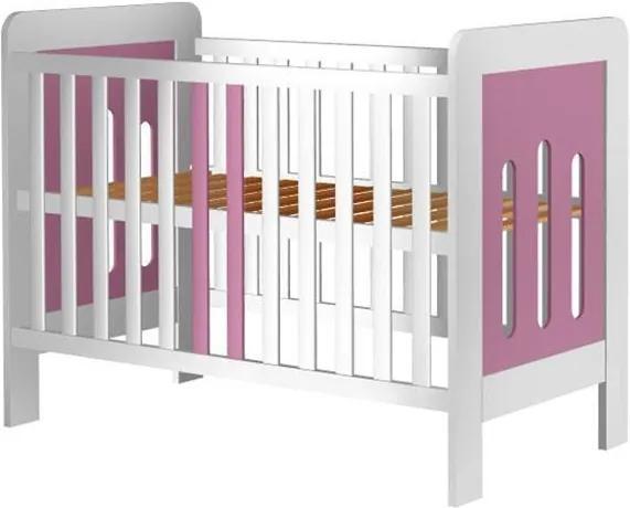 Patut copii din lemn Sophie 120x60 cm alb-roz