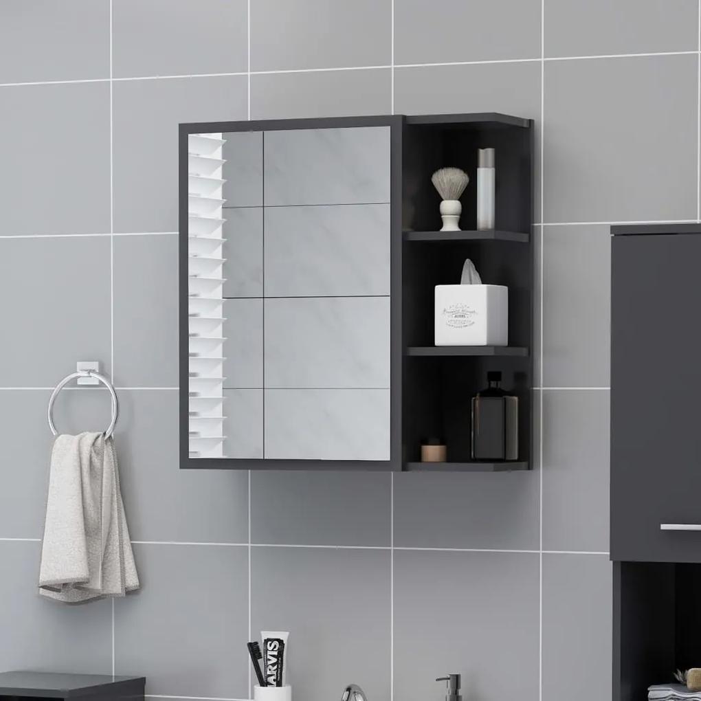 803310 vidaXL Dulap baie cu oglindă, gri, 62,5x20,5x64 cm PAL