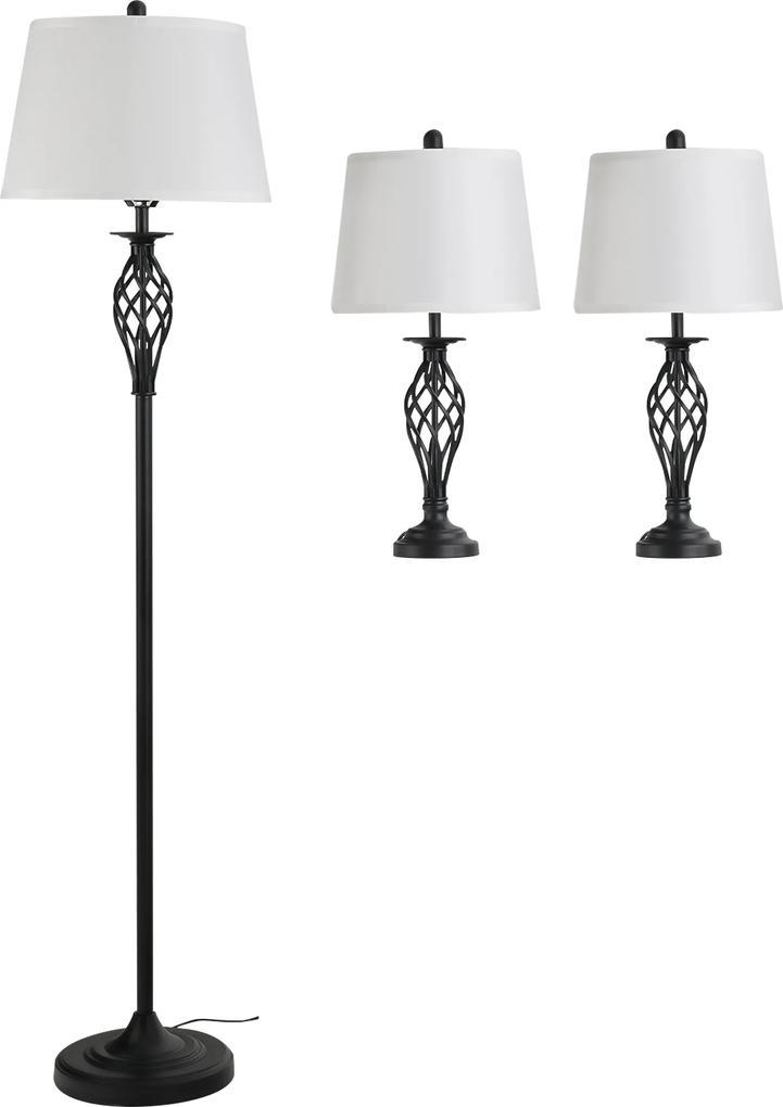 Homcom Set 3 Piese Lampa de Podea si 2 Lampe de Masa din Metal Design Vintage Becuri E27 Alb si Negru