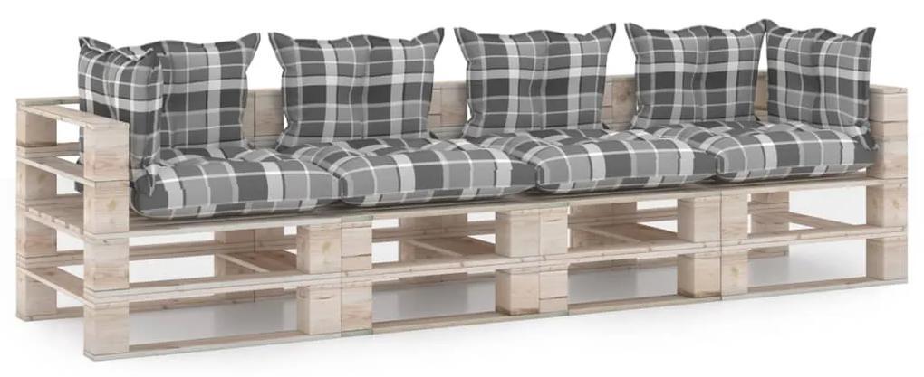 3066142 vidaXL Canapea de grădină din paleți, 4 locuri, cu perne, lemn de pin