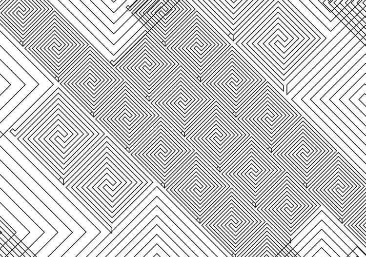 Abstract Pattern Black White Fototapet, (250 x 104 cm)