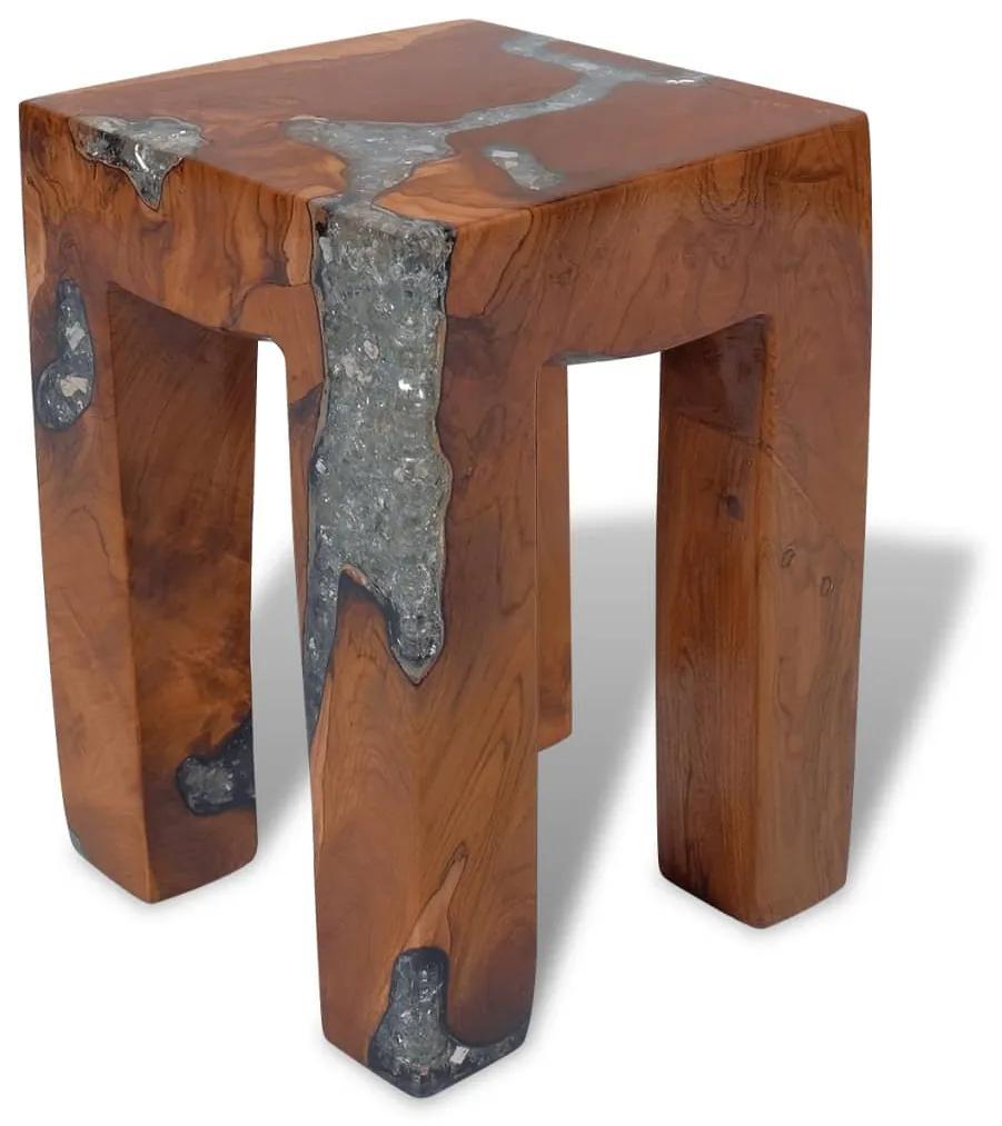 243470 vidaXL Taburet, lemn de tec masiv și rășină