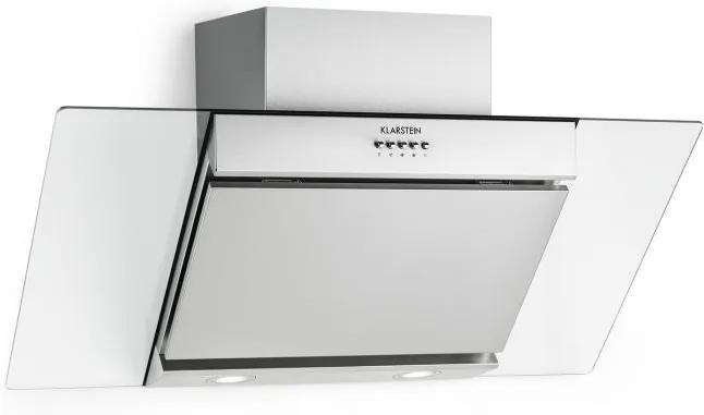 Klarstein KLARSTEIN Zola, hotă de bucătărie cu spațiu pentru cap, 90 cm, 635 mc / h, oțel inoxidabil, montaj pe perete, sticlă