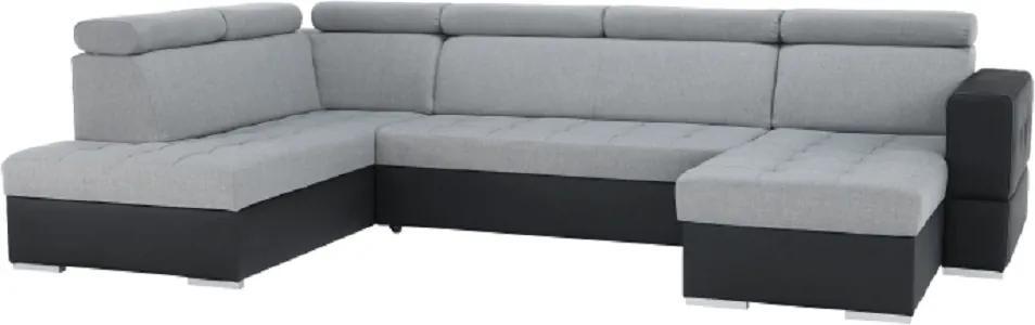 Colţar extensibil, piele ecologică negru/material textil gri deschis, dreapta, VASTO