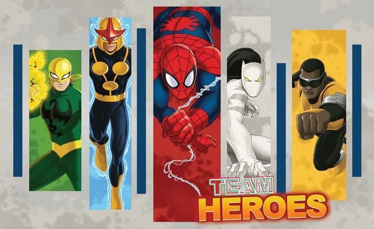 Marvel Comics Team Heroes Fototapet, (368 x 254 cm)