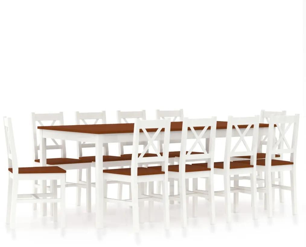 283396 vidaXL Set mobilier de bucătărie, 11 piese, alb și maro, lemn de pin