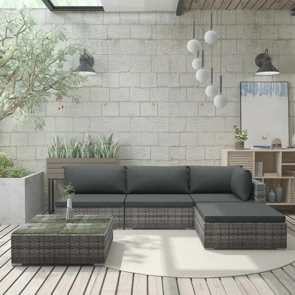 46783 vidaXL Set mobilier de grădină cu perne, 5 piese, gri, poliratan