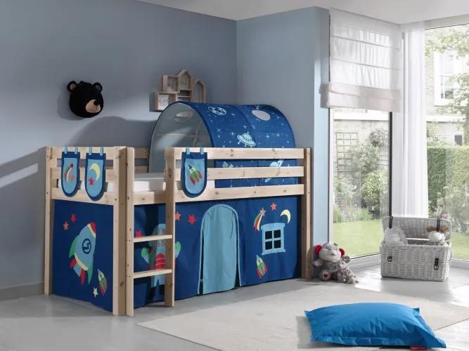 Pat etajat din lemn de pin, cu tunel si spatiu de joaca pentru copii Pino Plus Astro Natural, 200 x 90 cm