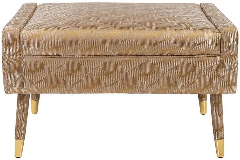 Scaunel pentru picioare auriu din poliester si lemn Balham