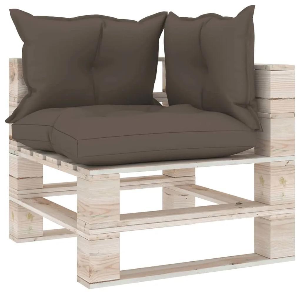 3066056 vidaXL Canapea de grădină din paleți, colțar, cu perne, lemn de pin