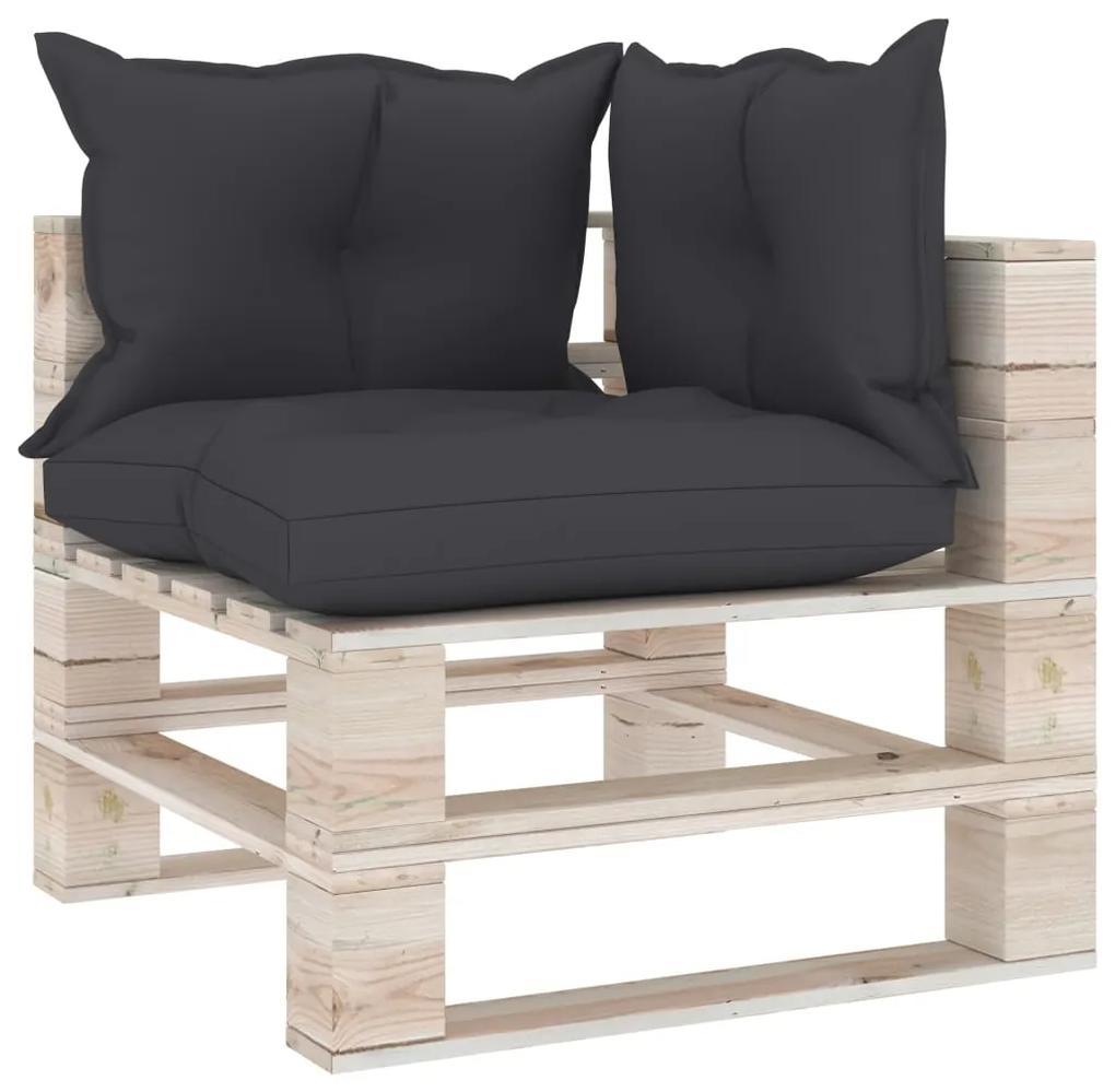 3066055 vidaXL Canapea de grădină din paleți, colțar, cu perne, lemn de pin