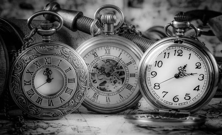 Watches Clocks Black White Fototapet, (312 x 219 cm)