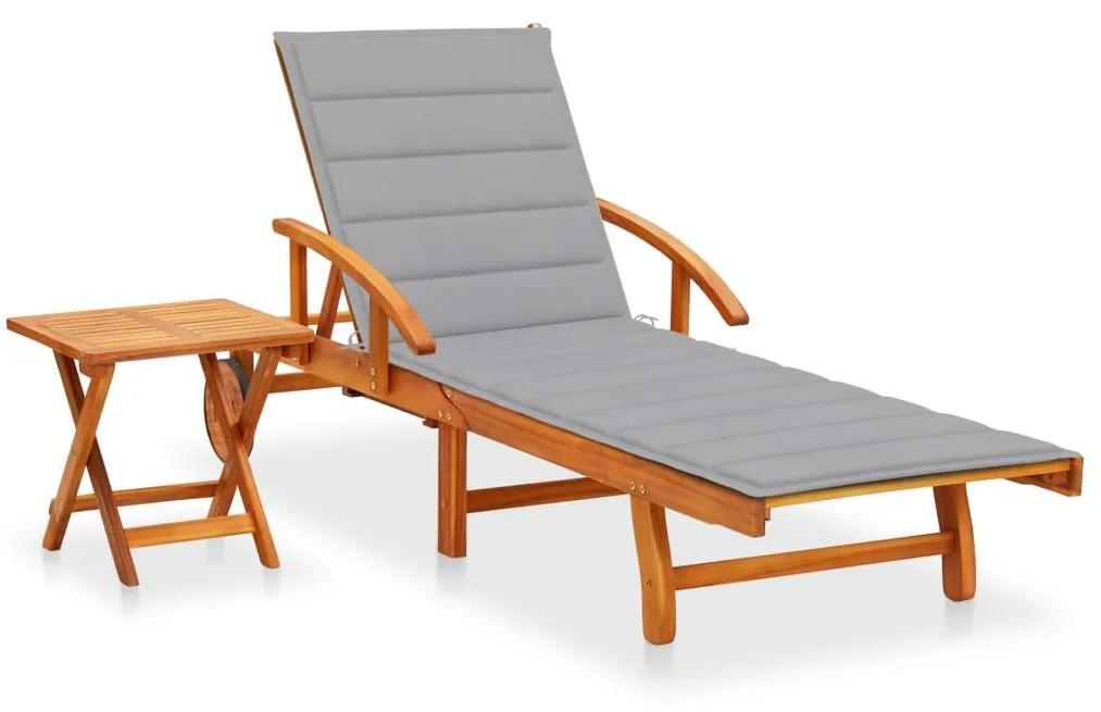 3061618 vidaXL Șezlong de grădină cu masă și pernă, lemn masiv de acacia