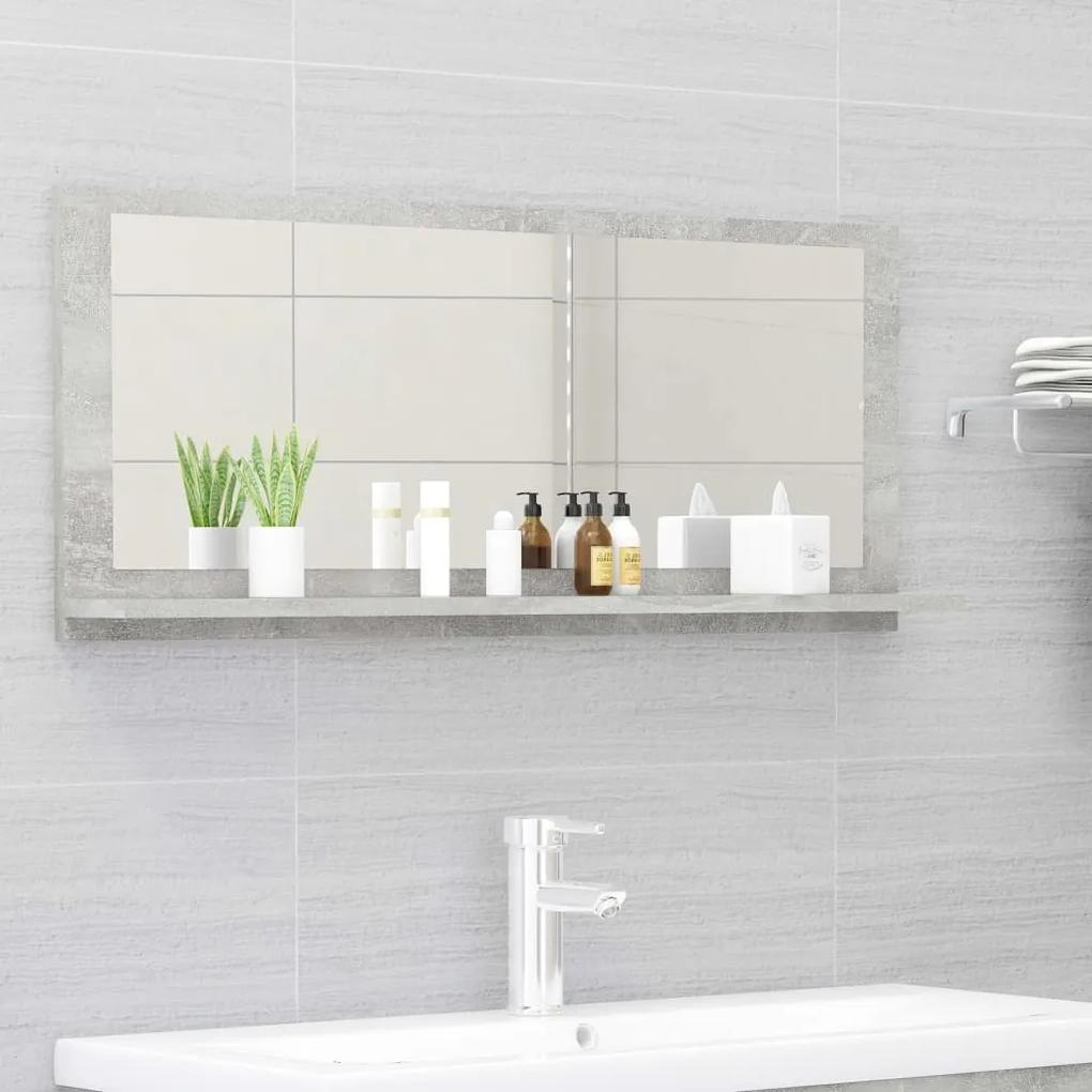 804584 vidaXL Dulap de baie cu oglindă, gri beton, 90 x 10,5 x 37 cm, PAL