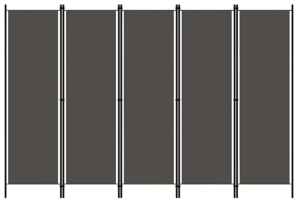 320725 vidaXL Paravan de cameră cu 5 panouri, antracit, 250 x 180 cm