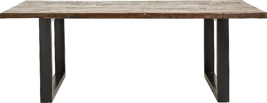Masa dining cu blat din lemn si picioare metalice Rough 220x100cm