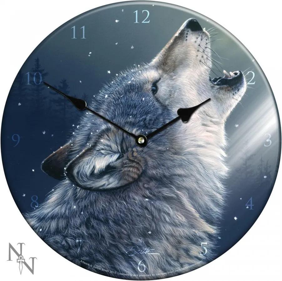 Ceas de perete din sticlă cu lup Cântec înălțat spre lună