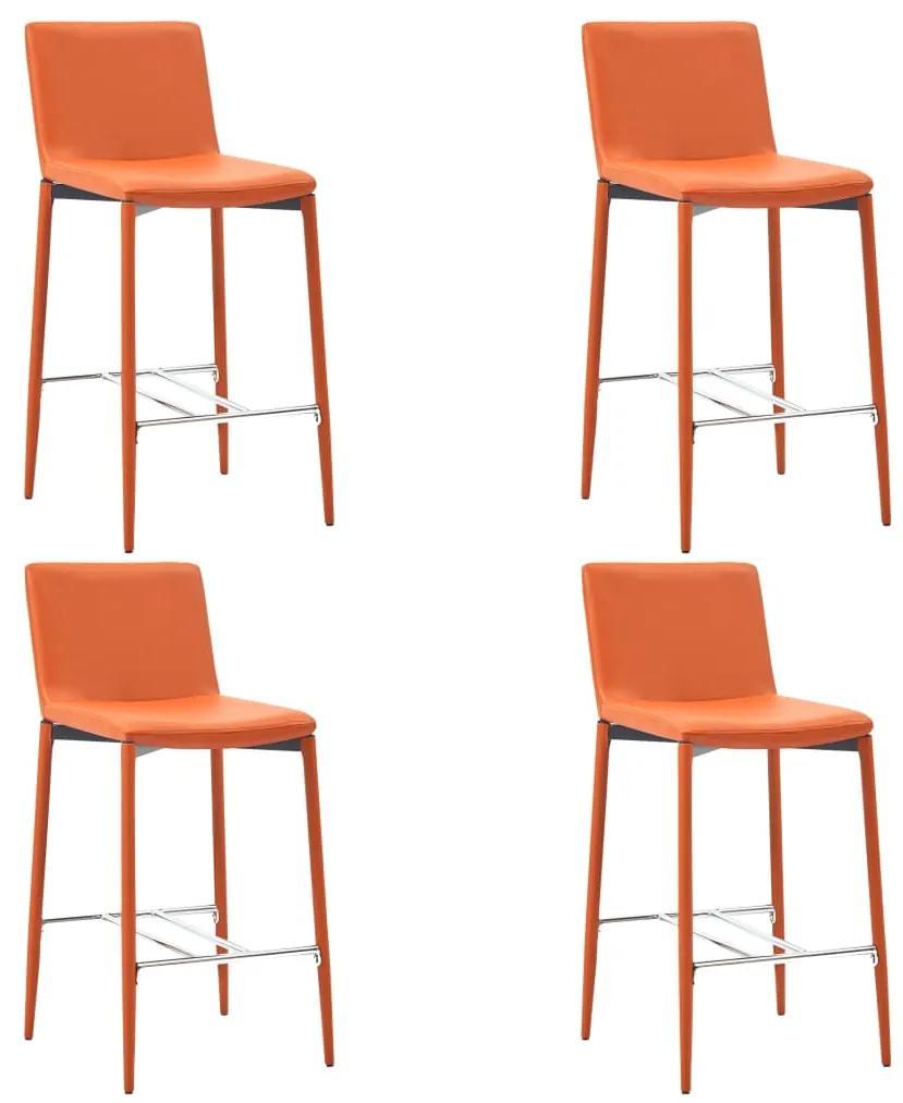 279683 vidaXL Scaune de bar, 4 buc., portocaliu, piele ecologică