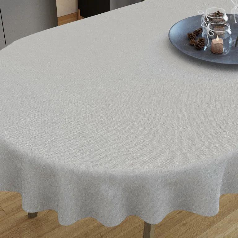 Goldea față de masă decorativă  loneta - gri deschis- ovale 40 x 80 cm